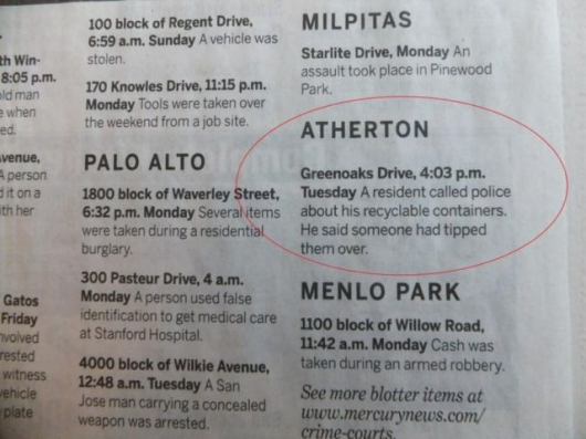 The strange things in the Atherton police blotter - Picture 1