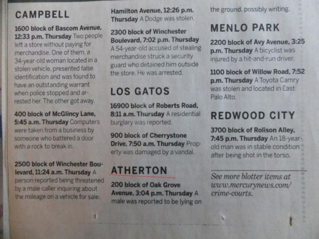 The strange things in the Atherton police blotter - Really