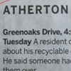The strange things in the Atherton police blotter