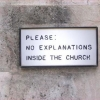 No explanations in the church