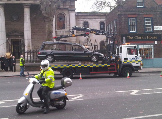 Towing the hearse
