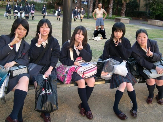 Japanese girl school photobombing