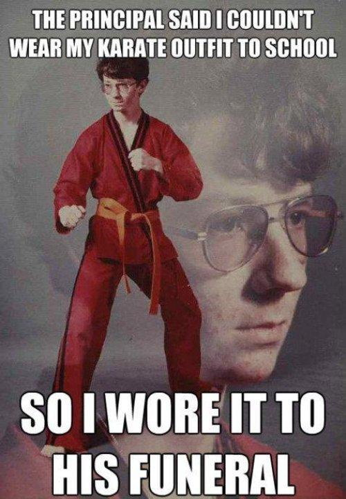 Can't wear Karate outfit to school