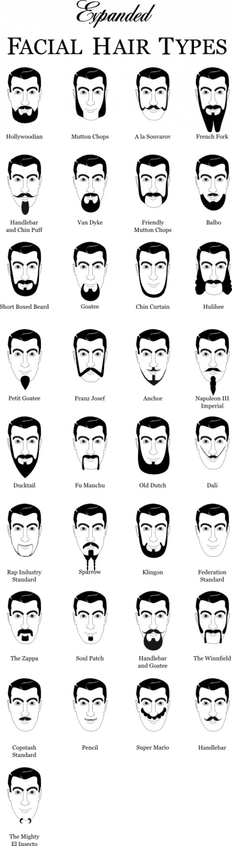 Expanded facial hair types