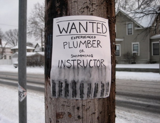 Wanted experienced plumber or swimming instructor