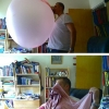 Huge bubblegum balloon pop