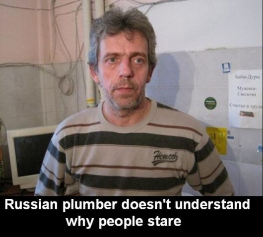 Confused russian plumber