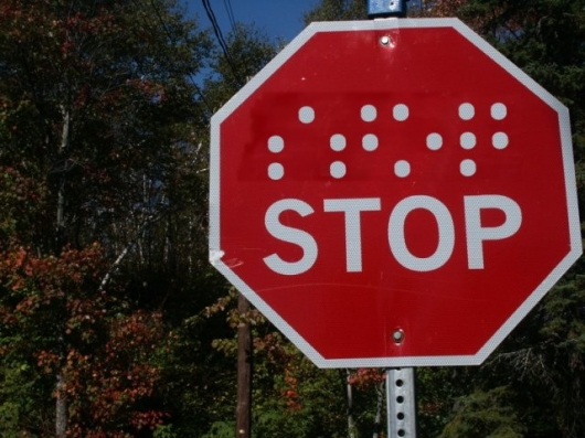 Stop sign for the blind