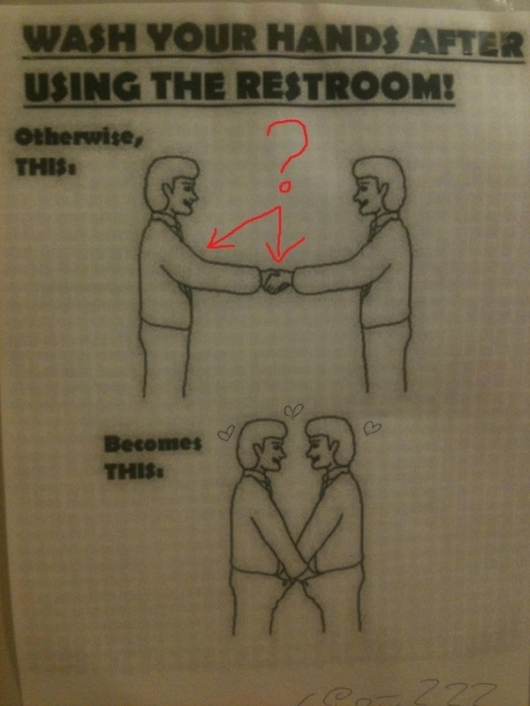 Wash your hands after using the restroom