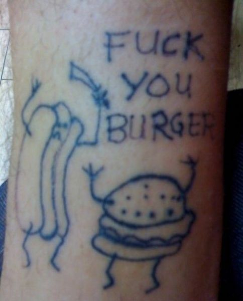 Hot-dog vs burger tattoo