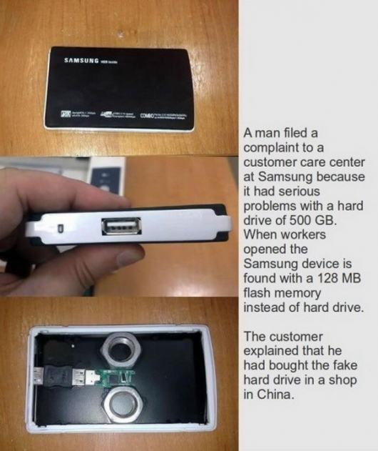 Fake Chinese hard drive