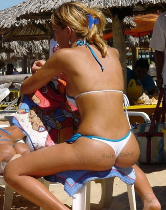 Ass tattoo: 'Exit only'