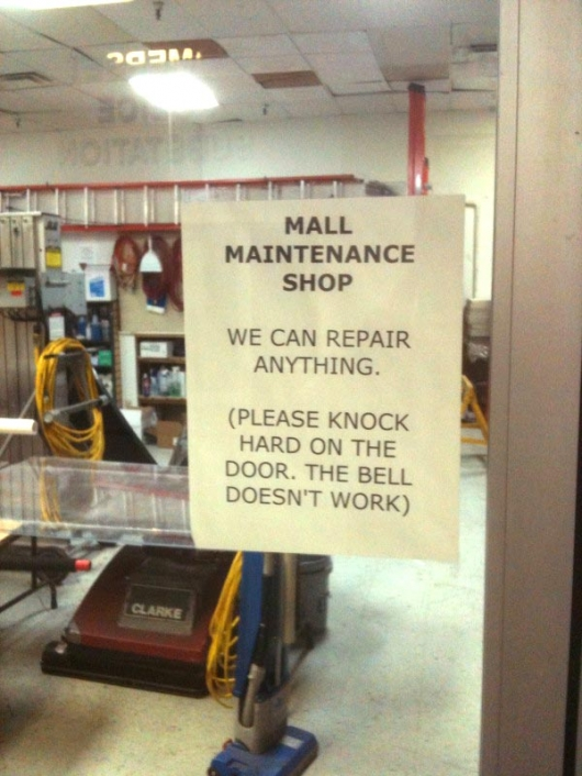 Mall maintainance shop sign