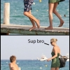 Kate Moss pushes kid into the water