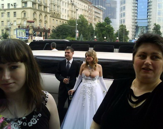 Epic Russian wedding cleavage
