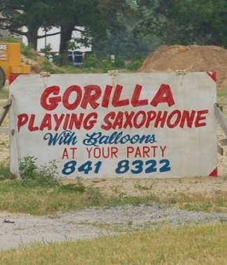 Gorilla playing saxophone