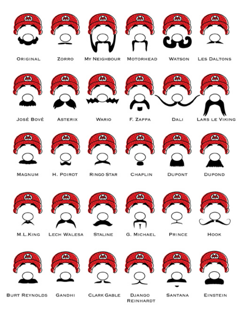 Moustache types for Mario