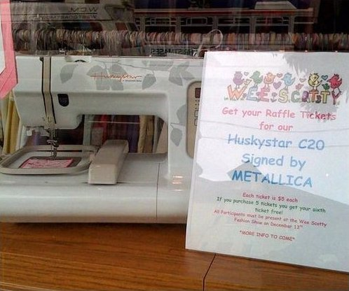 Sewing machine signed by Metallica