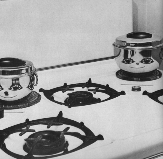 Smiling pots on the stove