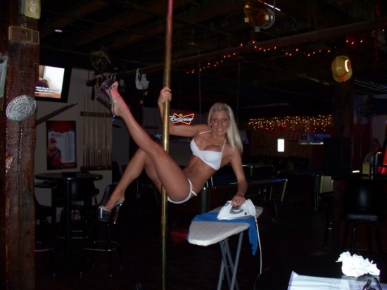 Stripper Ironing on pole