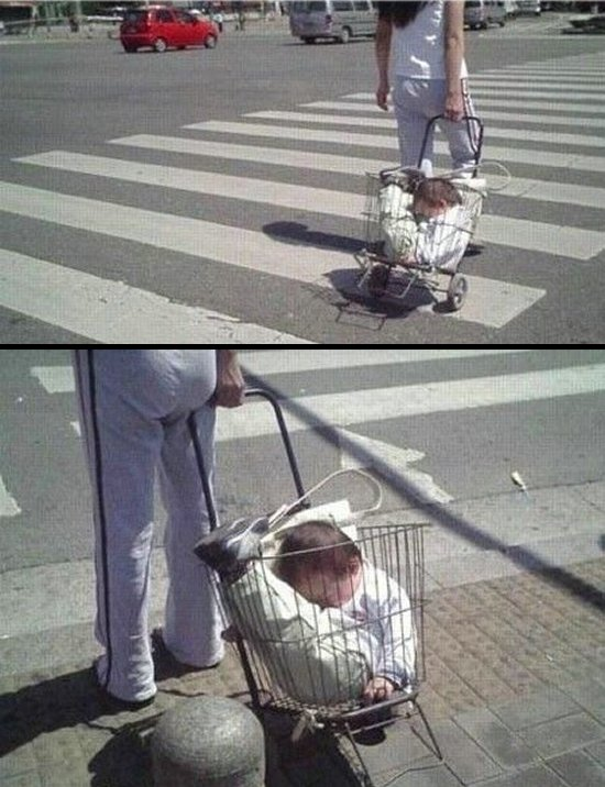 Taking the baby for a walk