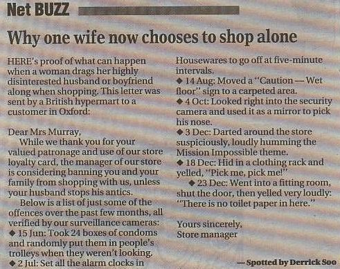Why one wife chooses to shop alone