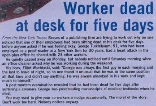 Worker dead at desk for 5 years