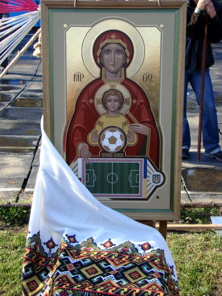 Mary and Jesus watch over the soccer team