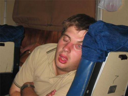 Guy sleeping with an open eye - Really funny pictures ...