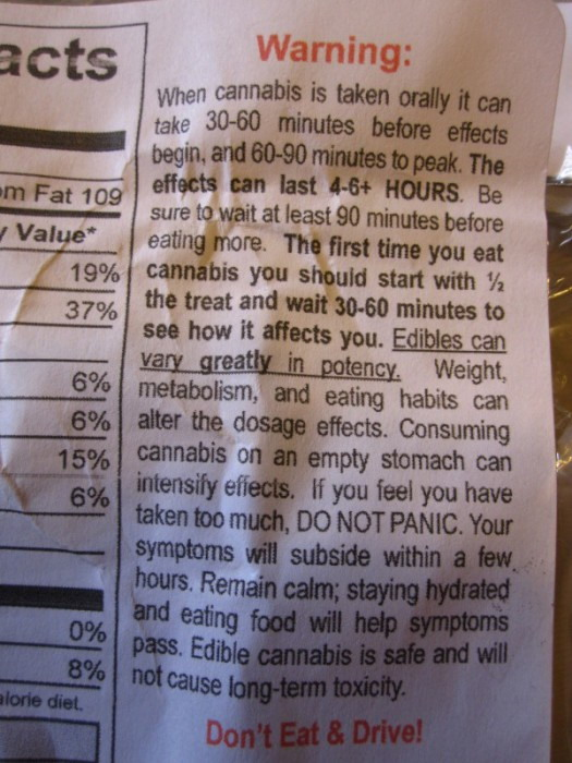 Cannabis food warning