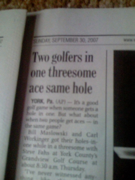 Two golfers in one threesome ace same hole