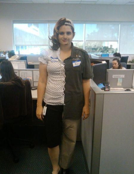 Half woman - half man costume