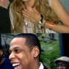 Celebrities laughing