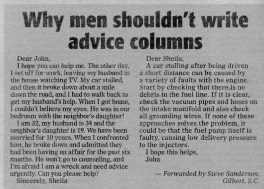 Why men shouldn't write advice columns